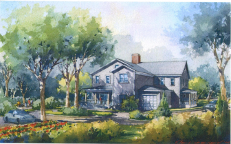 A watercolor rendering of Fairfield County Hospice Home in Stamford. Published with permission from FCHH