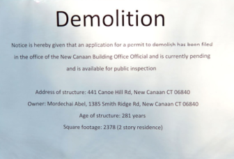 Demolition sign erected March 9, 2016 at 8 Ferris Hill Road in New Canaan. Contributed