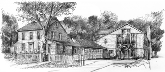 Conceptual rendering of modern development at 8 Ferris Hill Road that preserves the antique structure, by Mark Markiewicz.