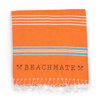 The Beachmate Turkish towel in orange (it also comes in grey) costs $36 at MyBeachmate.com.