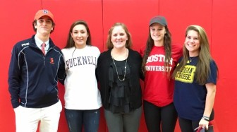L-R: Clayton Burt, Libby O'Hare, Kelly Devine, Meghan Egan, and Catherine Granito on early Letter of Intent signing day, 2015. Photo courtesy of Kat Munson