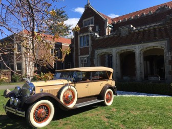 A 1930 Packard touring car was parked out front of Waveny House for the children's book launch. Credit: Michael Dinan