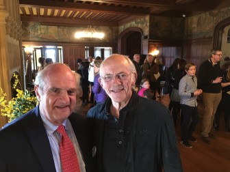 Keith Simpson and Christopher Lloyd in the Great Hall of Waveny House for the April 3, 2016 launch of a children's book inspired by the historic home and property, where Lloyd grew up. Credit: Michael Dinan