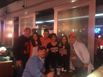 Kit and Rob Mallozzi (far right) with New Canaan Fire Commissioner Al duPont and the Lord family, all up at Syracuse (where Kit Mallozzi and Emma Lord are students) for the NCAA men's basketball Final Four. Contributed