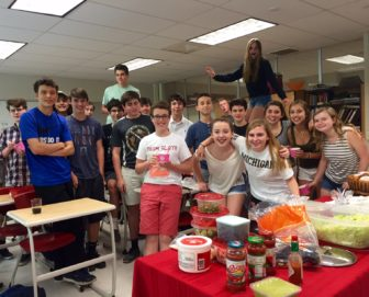 Mr.Harvey's Latin II Class celebrates exceptional scores on the National Latin Exam. Photo Credit: Emilia Savini
