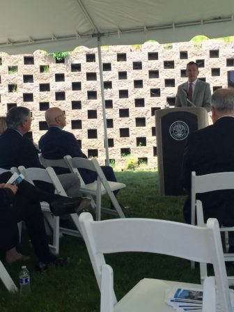 Governor Malloy speaks at the Millport Phase 1 Groundbreaking Ceremony on the morning of Wednesday, June 1, 2016.