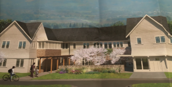 Rendering of proposed new admissions building at Silver Hill Hospital on Valley Road.