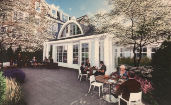 A rendering of a proposed common outdoor area at Merritt Village in New Canaan