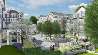 Courtyard view of the proposed new condominium/townhouse and apartment units at Merritt Apartments in New Canaan. Rendering courtesy of S/L/A/M Collaborative
