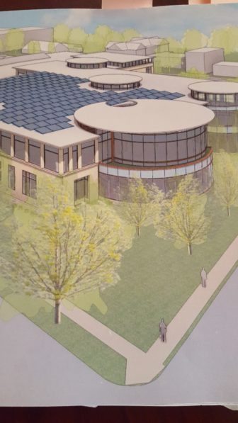 A vision for a future New Canaan Library. The corner at the bottom is at South Avenue and Maple Street, with South Avenue running to the left. Published with permission from the library