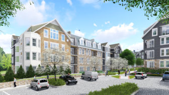 Maple Street view of the proposed new condominium/townhouse and apartment units at Merritt Apartments in New Canaan. Rendering courtesy of S/L/A/M Collaborative