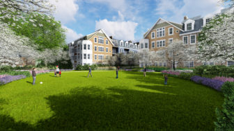 South lawn view of the proposed new condominium/townhouse and apartment units at Merritt Apartments in New Canaan. Rendering courtesy of S/L/A/M Collaborative