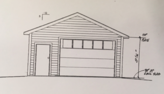 A rendering of the new storage shed, already installed, at 109 Knapp Lane.