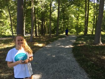 Hannah Socci is a fan of the new trail at Waveny that's designed to get pedestrians out of the road along a particular dangerous blind stretch. Credit: Michael Dinan