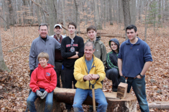 Troop 70 Boy Scout Volunteers for the New Canaan Land Trust Hicks-Kelley trail project on the natural bench. Left to Right: Greg Brannan, Cole Schubert, Mark Peiser, Eagle Scout Candidate John Peiser, Dennis Brown, Ryan Krolikowski, Sean Dipanni, Jake Melcher. Contributed