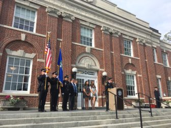 The New Canaan Police Department Honor Guard presented the flag at the 9/11 Memorial Service at Town Hall on Sept. 9, 2016. Members of the Honor Guard here are L-R: Officers Ron Bentley, David Payne and Jason Kim. Credit: Michael Dinan