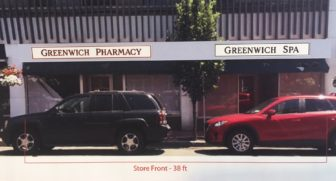 A rendering of the new 'Greenwich Spa' sign to go in at Greenwich Pharmacy at 110 Main St. in New Canaan.