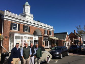 L-R: Brock Saxe, Bill Holmes, Bob Seelert and Keith Simpson stand in front of an antique car on Elm Street, ahead of the Waveny Park Conservancy's inaugural fundraiser, to be held Saturday, Oct. 15 at Waveny. No tickets will be sold same-day and no one will be able to walk on for the fundraiser, which includes a large-screen TV showing college football and live music from Joe Scarborough's band. Credit: Michael Dinan