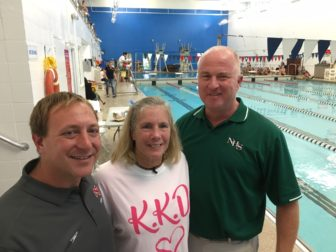 L-R: David Fine, Pam Raila and Doug Marchetti at the inaugural 'Kelly Devine Dual' meet between NCHS and Norwalk High School, on Oct. 23, 2016 at the New Canaan Y. Credit: Michael Dinan
