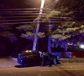 A vehicle struck a utility pole on Weed Street near the intersection with Knapp Lane on the night of Oct. 10, 2016. SE photo
