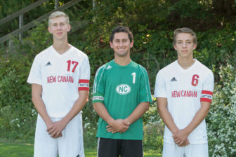 FCIAC Honors NCHS Varsity Soccer Captains. L-R: All East FCIAC team Center Back Chris Harte, All-FCIAC goalkeeper Sam Stoner and All East FCIAC Center Midfielder Hugo Potter. Contributed