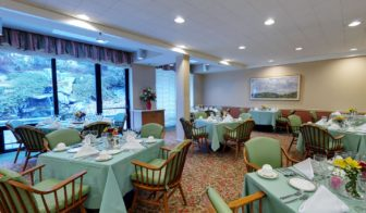 The dining room at The Inn of New Canaan, part of the Waveny LifeCare Network. Contributed
