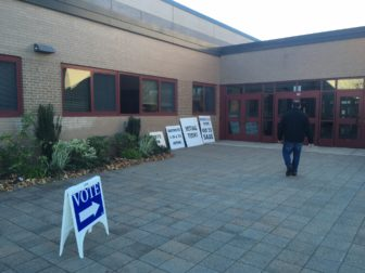 Outside New Canaan High School on Election Day, Nov. 8, 2016. Credit: Michael Dinan