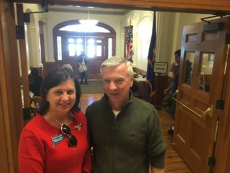 New Canaan's Republican Registrar of Voters Kathleen Redman and Head Moderator Michael Aldrich, at Town Hall on Election Day, Nov. 8, 2016. Credit: Michael Dinan