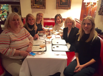 L-R: New Canaan's Darcy Fitzpatrick, Amy Dunstan, Suzanne Jonker, Rose Walker, Jan Schaefer Abramowitz and Ivanka Trump lunching at the Trump Grill today Nov 9 celebrating last night's presidential victory. Published with permission from its owner