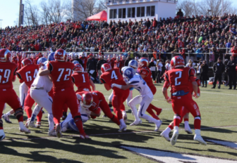 A scene from the 2013 Turkey Bowl--the last time it was played at Dunning Field. Credit: Terry Dinan