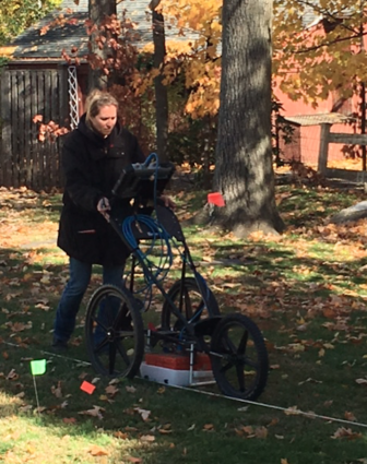Officials trawled the Maple Street Cemetery at Merritt Apartments with ground-penetrating radar technology in order to determine whether and just where any bodies are entombed there. Published with permission from its owner